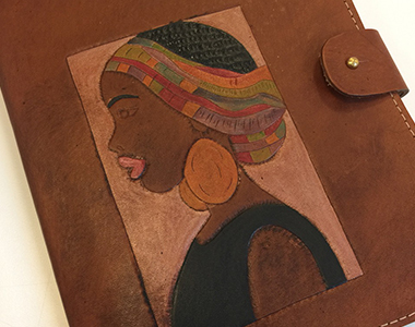 Hand Carved Lady on Journal